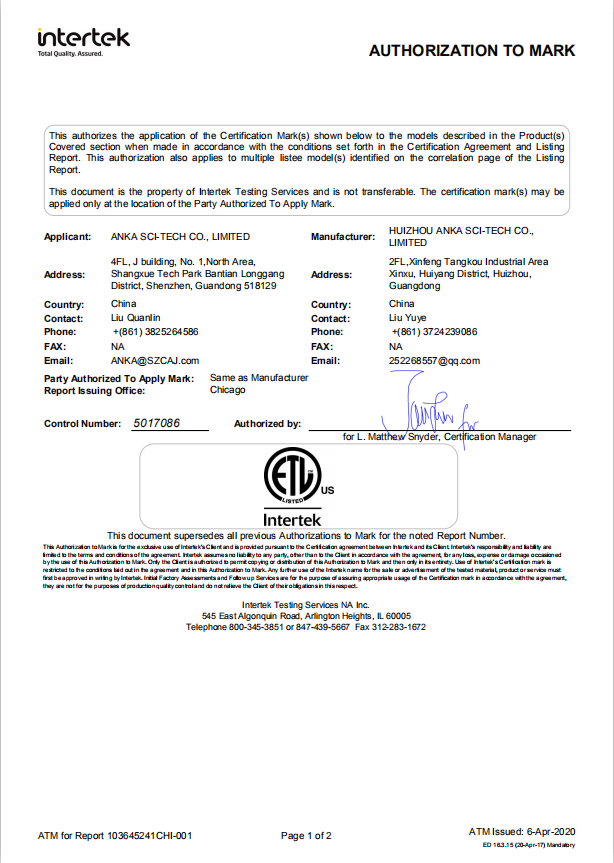 UL217 Certifiction for 73 Series