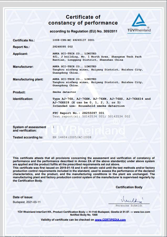 CE EN14604 from TIV