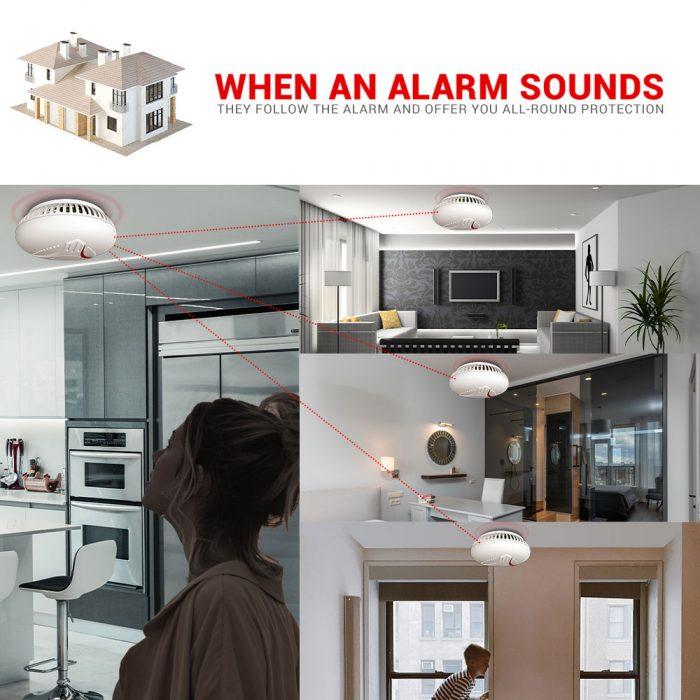 smart wireless Interlinked smoke alarm